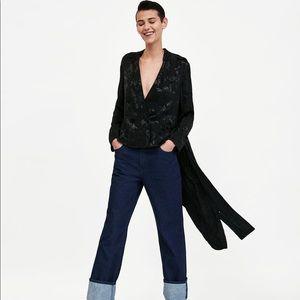 Zara Blazer Jacquard Kimono Black Jacket Medium